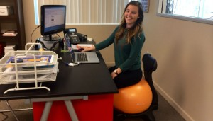 using yoga ball chair