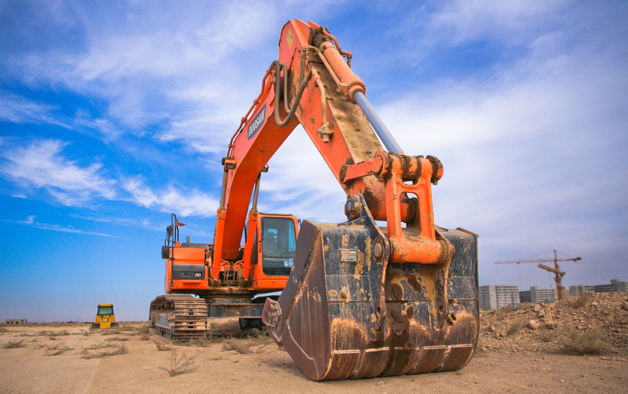 an orange excavator